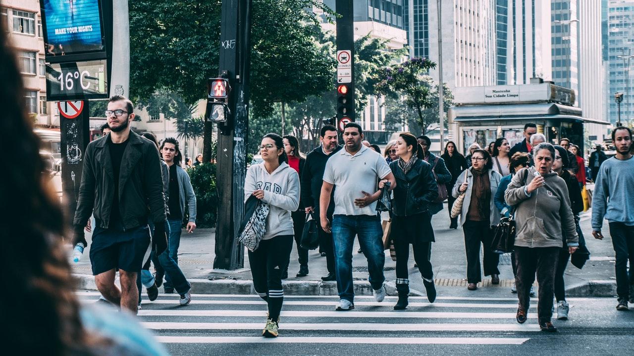 people walking on crossing