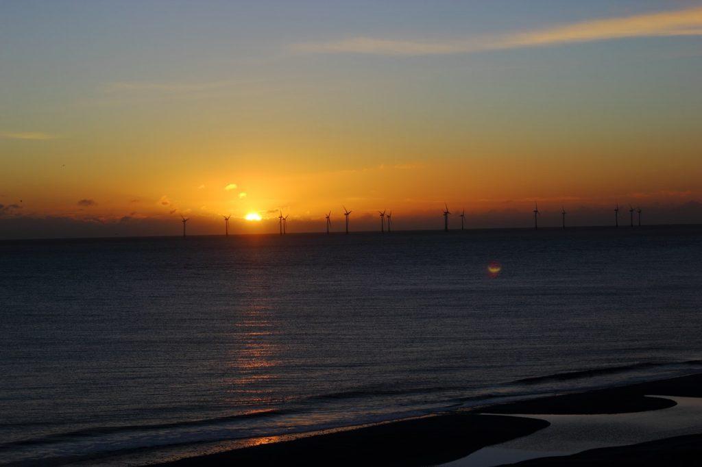 wind farm in sunset